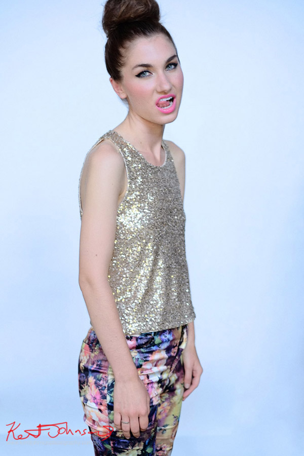 Funky and cheeky look , floral leggings, gold sequinned singlet top. Modelling Portfolio. Studio Modelling Portfolio photographed by Kent Johnson, Sydney, Australia.