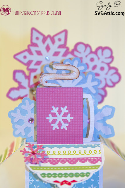 3d card with cocoa mug and snowflakes