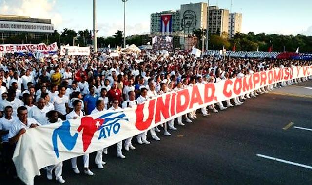 Desfile del 1 de mayo en Cuba en apoyo a Venezuela