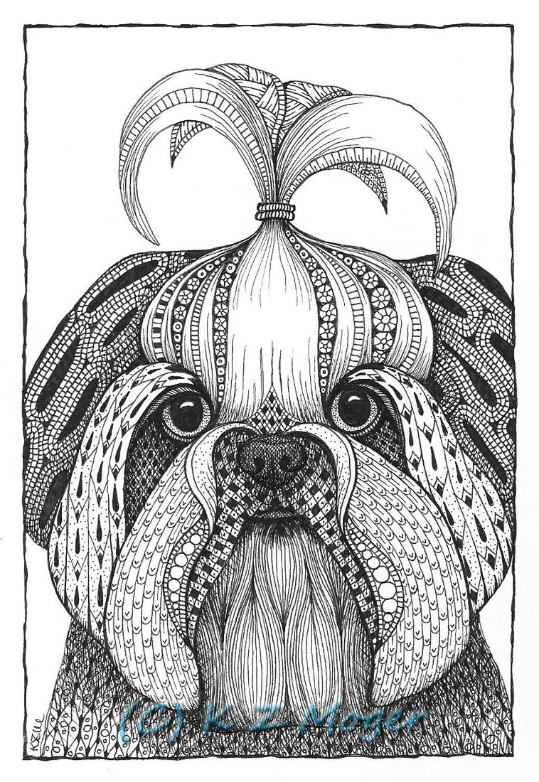 10-Shih-Tzu-Kristin-Moger-Domestic-and-Wild-Zentangle-Animal-Portraits-www-designstack-co