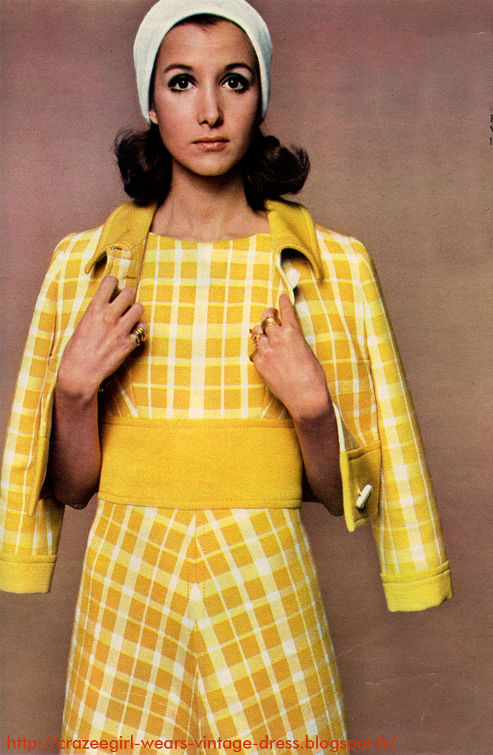 vintage cropped jacket white yellow plaid dress 1960 60s mod twiggy 1969 germaine et jane la guicharday
