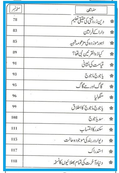 Ashab e Kahf Aur Yajooj Majooj By Shaykh Abul Kalam Azad (r.a) table of contents pages