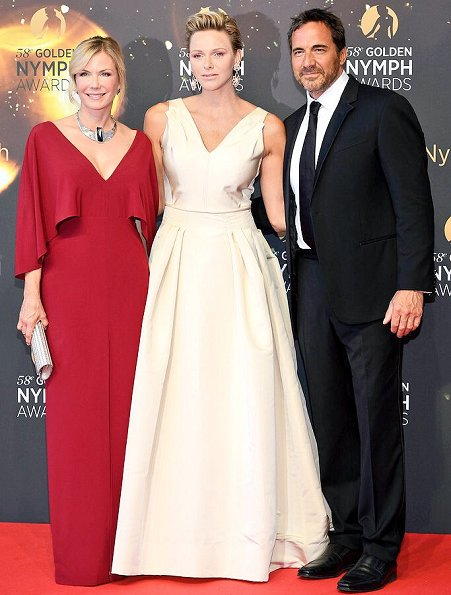 Princess Charlene wore Carolina Herrera Icon collection flared silk gown. Princess Charlene wore a dress by Carolina Herrera at Golden Nymph Awards