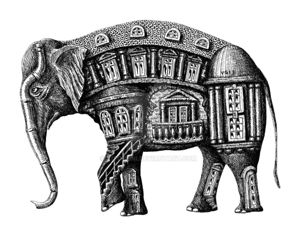 05-Elephant-Building-Vitaliy-Gonikman-Surreal-Black-and-White-Drawings-with-a-Message-www-designstack-co