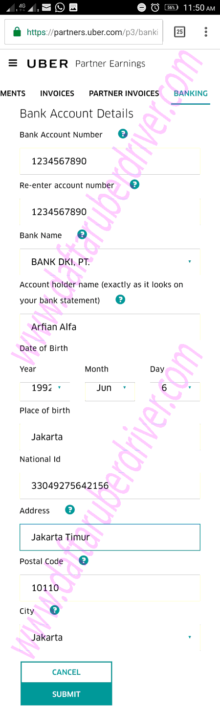 Contoh Isian data rekening Bank - DaftarUberDriver.com