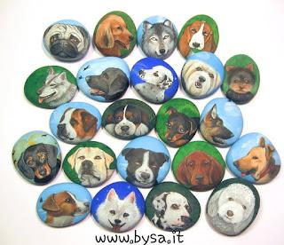 Bomboniere  originali musetti cane dipinti su sasso