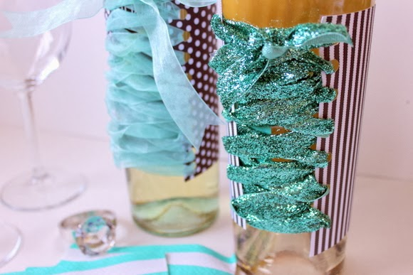 Bachelorette Party Wine Bottles - Choose a sparkly ribbon to up the glam factor.