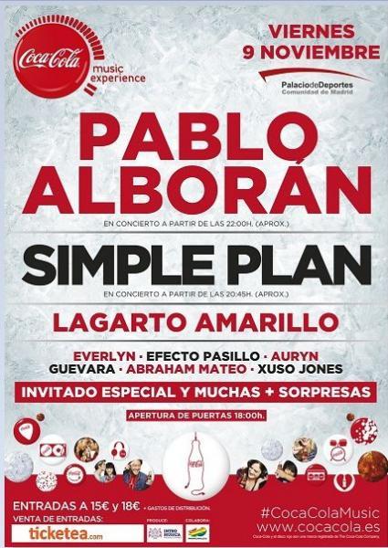 Coca Cola Music Experience 2012: Pablo Alborán, Simple Plan, Lagarto Amarillo, Auryn, Efecto Pasillo, Xuso Jones...en el Palacio de los deportes
