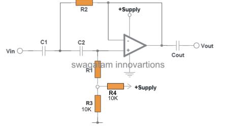 high pass filter circuit using single supply