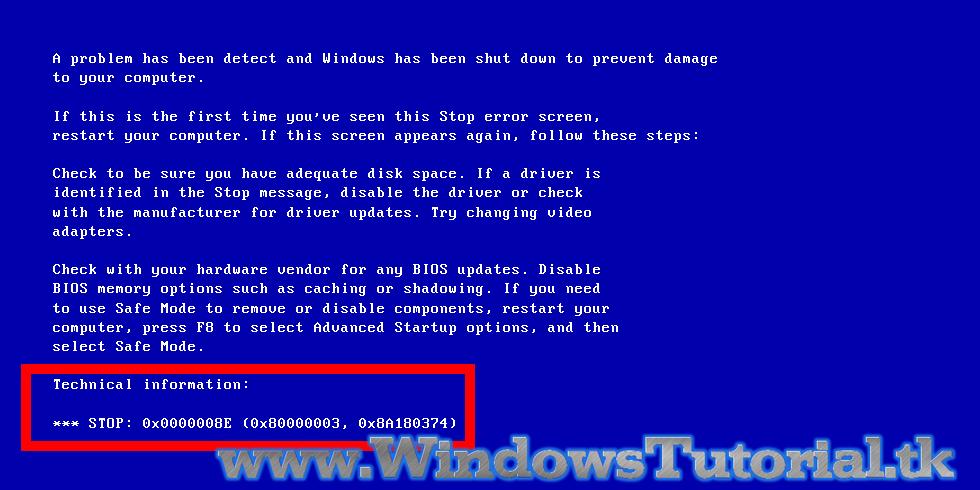 Cara Mengatasi Masalah Stop Error 0x0000008e Blue Screen Windows