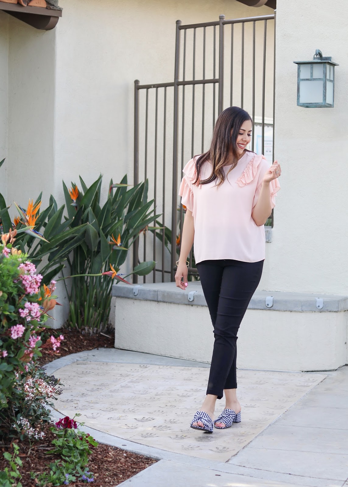 gingham block heels, spring office attire, san diego style blogger in spring