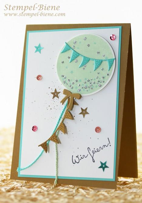 Stampin Up wir feiern, Ballonframelits, Einlaungskarte 18. Geburtstag, Karte zur Geburt, Stempelparty, Stampin Up Bestellung