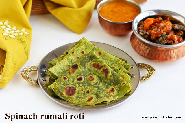 spinach rumali roti