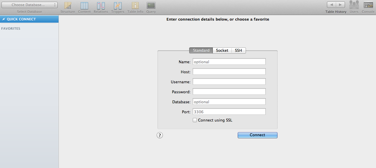 Anuj's Share IT: Working with MySQL on MAC  GUI Client, Web