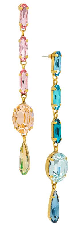 Roxanne Assoulin Hip Hop But Not Mismatched Swarovski Crystal Earrings