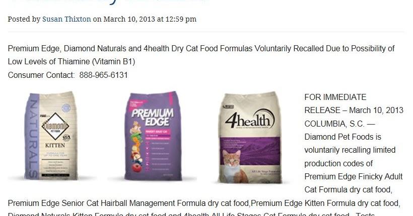Premium Edge Cat Food Recall