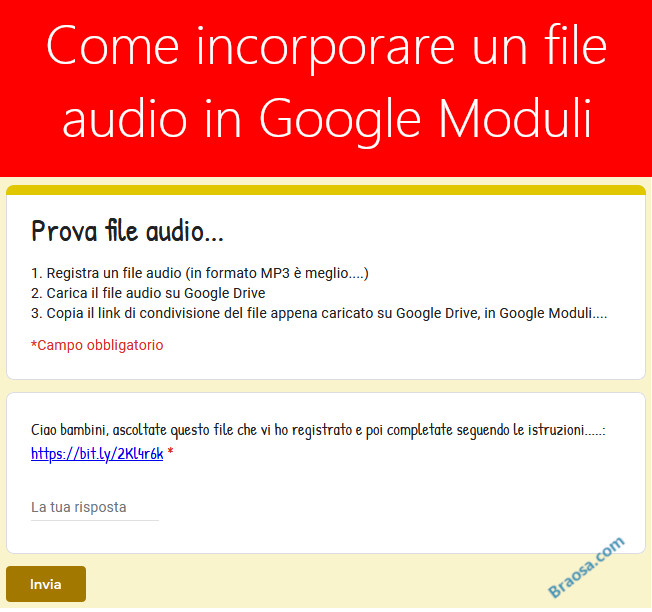 Come inserire un file audio in Google Moduli