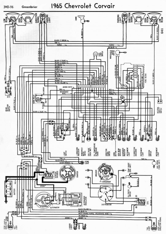 Chevrolet Corvair Greenbrier 1965 Complete Wiring Diagram