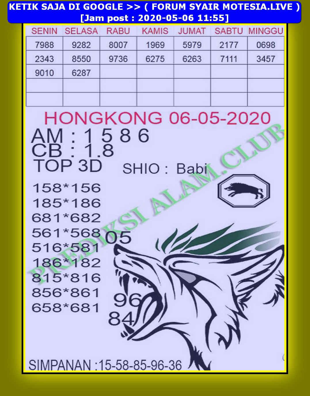 Kode syair Hongkong Rabu 6 Mei 2020 196