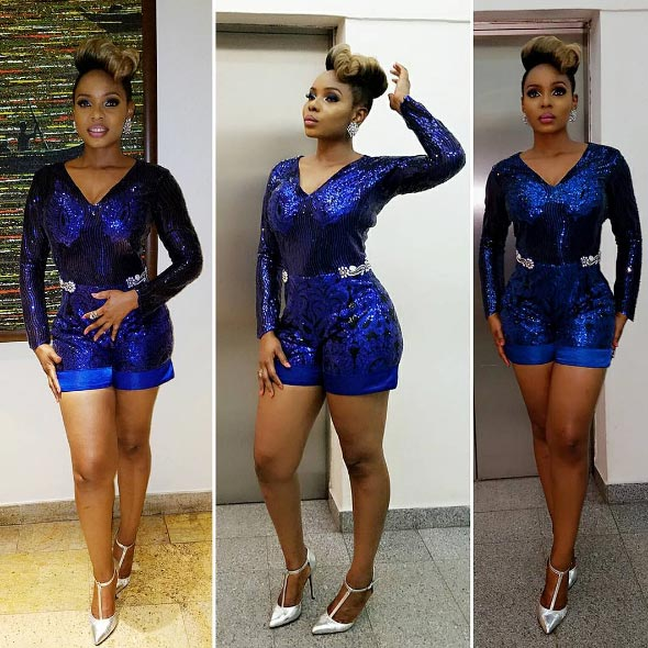 Yemi Alade slays in blue jumpsuit