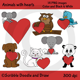 Valentine's day clip art animals holding hearts