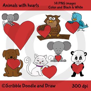 Valentine's day clip art animals holding hearts