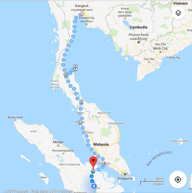 Rute Perjalanan Via Darat Pekanbaru - Bangkok