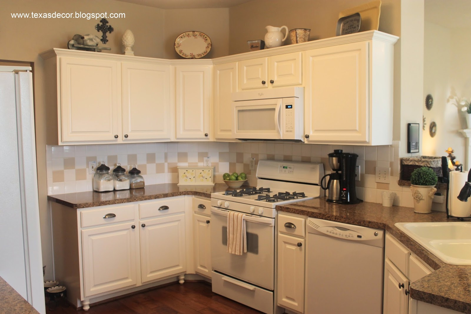 All White Kitchens With White Appliances Texas Decor Painted Kitchen Cabinet Reveal