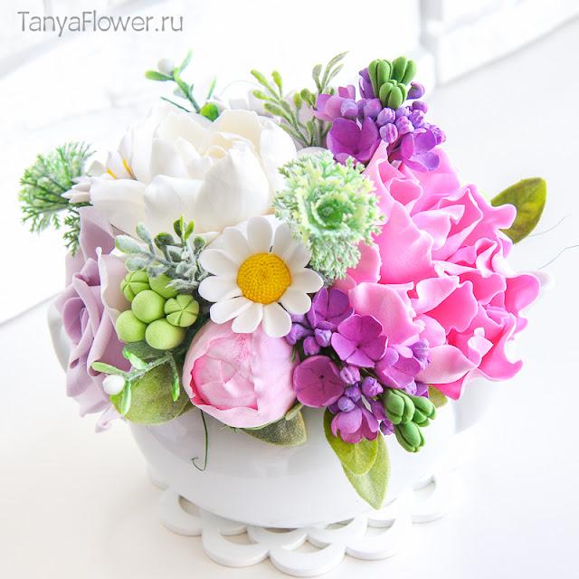 букет цветов ручной работы из полимерной глины