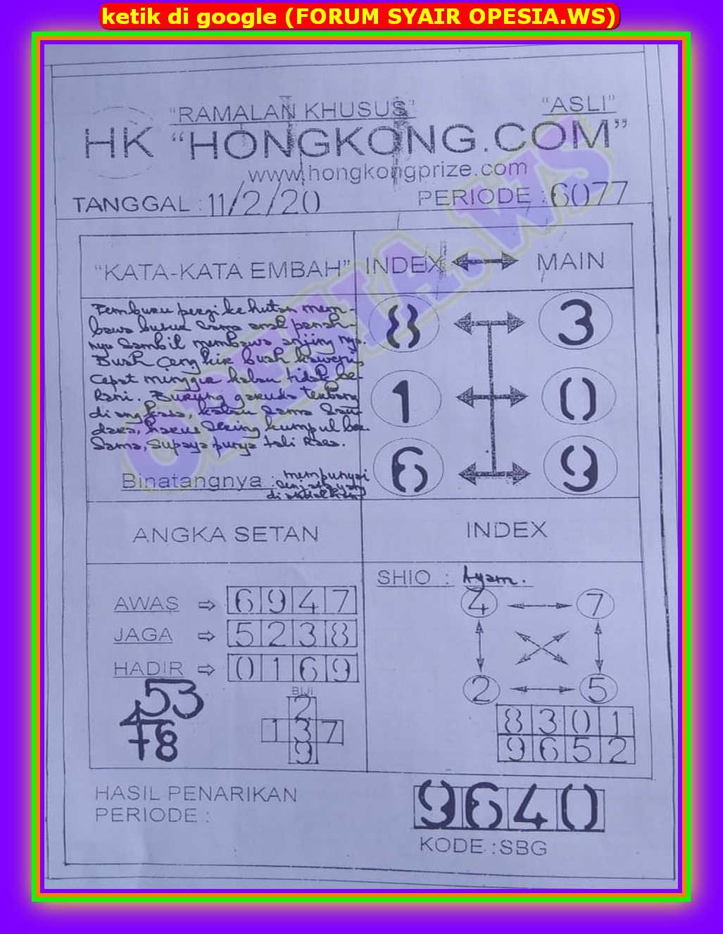 Kode syair Hongkong Selasa 11 Februari 2020 30