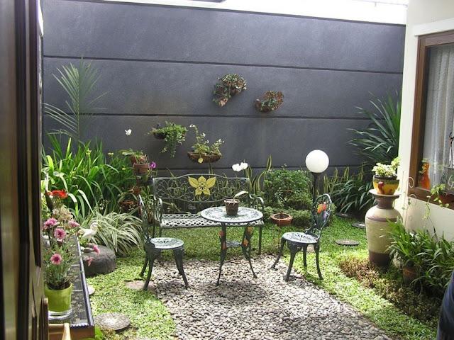 Desain taman dari rumah minimalis type 45
