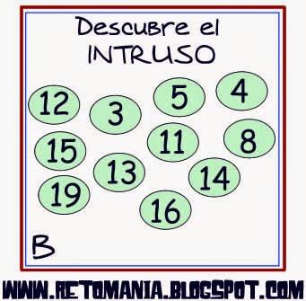 Descubre el Número, El Número que falta, Retos Matemáticos, Desafíos Matemáticos, Problemas Matemáticos, Problemas para pensar, Problemas lógicos, Problemas escolares, El Intruso