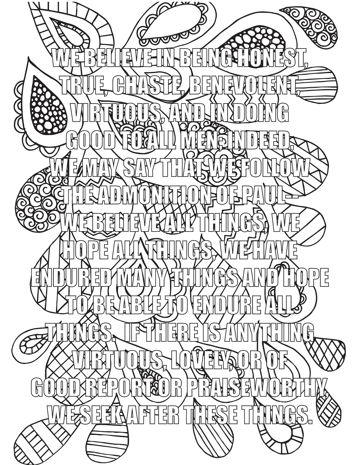 A Lively Hope New Articles Of Faith Coloring Book In The