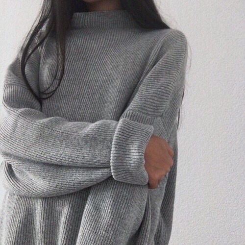 grey oversized turtleneck sweater