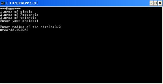 C++ program to calculate area of a circle,a rectangle or a
