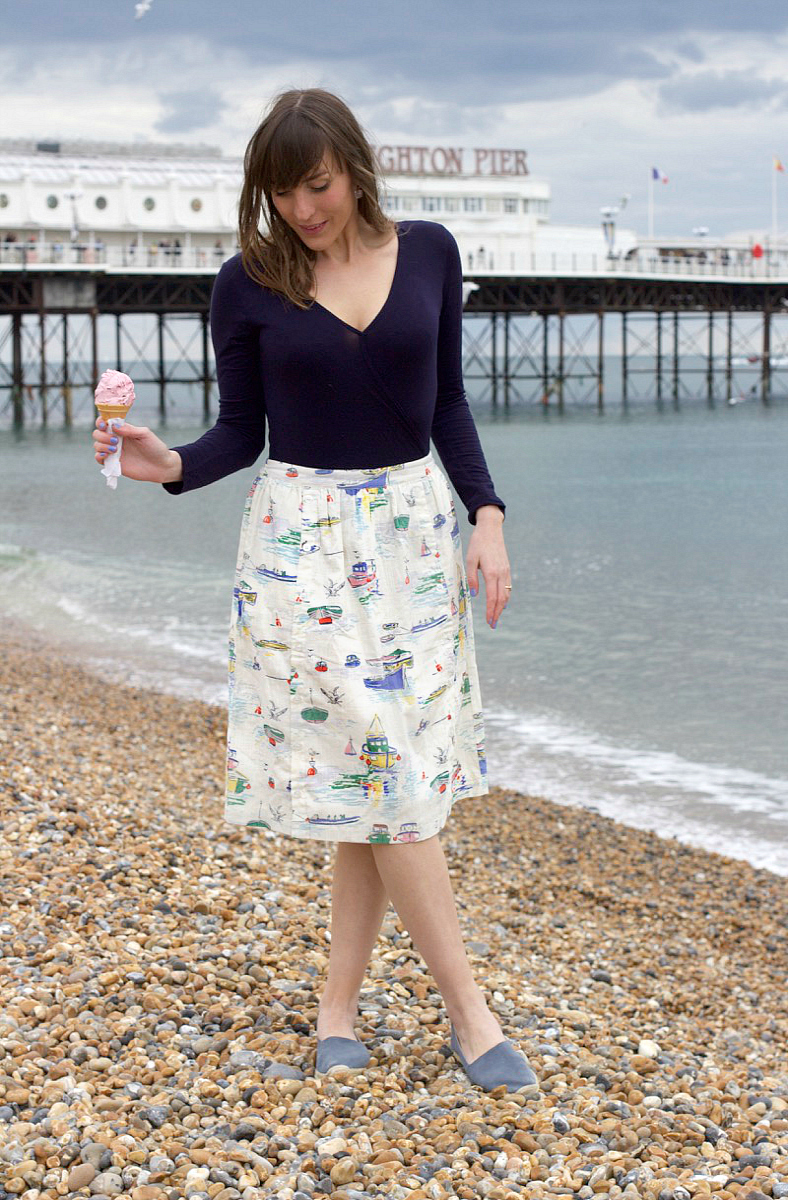 cath kidston button sea view skirt