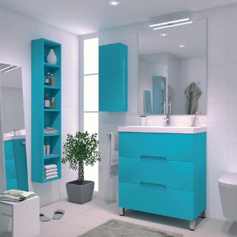 Genial mueble ba o azul im genes mueble bano bristol for Muebles de cocina 25 cm