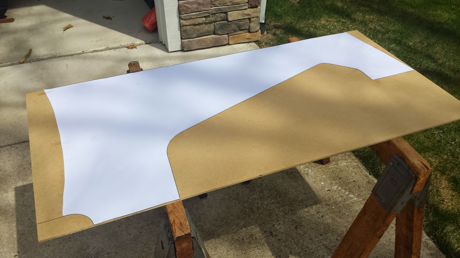 Paper Pattern Taped To 1 4 MDF