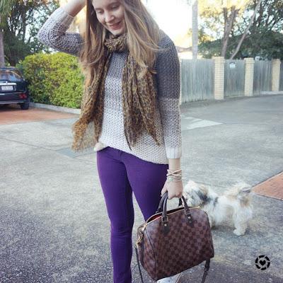 awayfromblue ombre open knit purple skinny jeans leopard print scarf LV speedy instagram