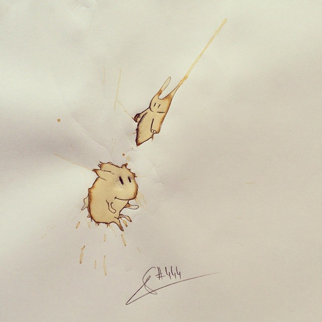 06-Dangerous-Monster-Stefan-Kuhnigk-Monster-Drawings-within-Coffee-Stains-www-designstack-co