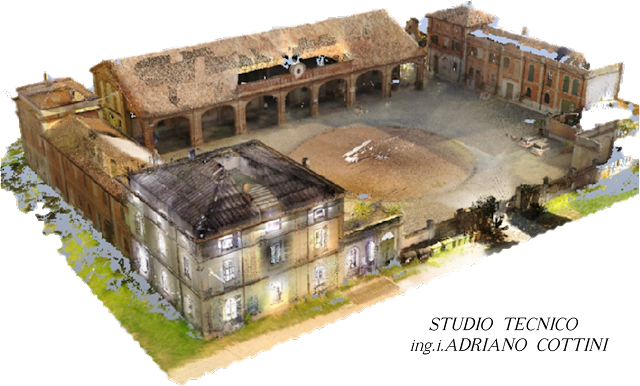 "Rustic Court ""La Faggiola"", Piacenza (ITALY) - Colorful 3D model - point cloud (general view) - by Studio Tecnico Cottini - JRC 3D Reconstructor"