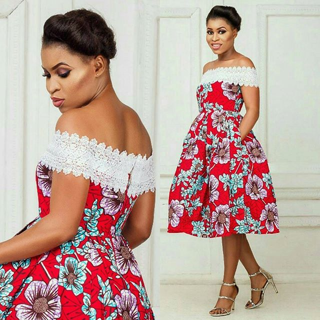 Ankara and Lace Combination Short Gowns Styles for Ladies ...