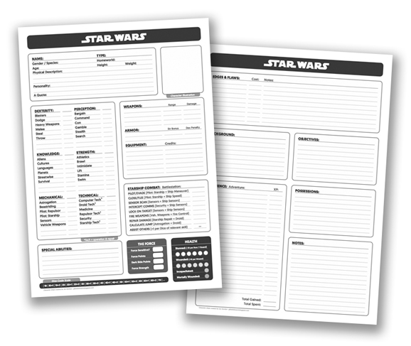Star Wars JezD6 Character Sheet Revised