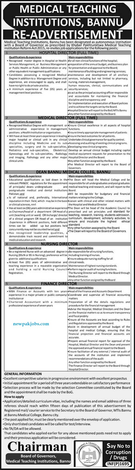 Readvertisement Of Medical Teaching Institutions Bannu April