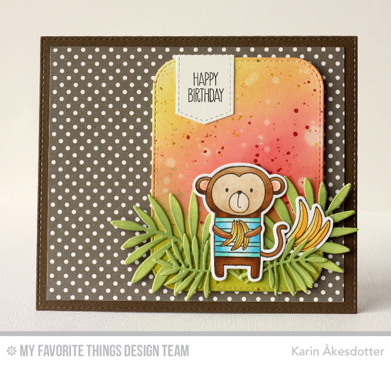 Birthday Monkey Card by Karin Åkesdotter featuring the Cheeky Monkey stamp set and Die-namics and the Wild Greenery, Laina Lamb Design Creative Clips, and Stitched Rounded Rectangle STAX Die-namics #mftstamps