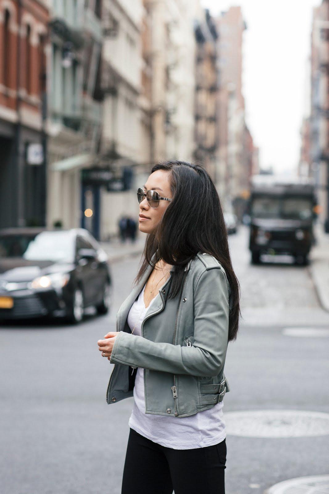 IRO leather jacket white tee