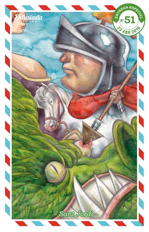 Sant Jordi a caballo salva a la princesa del dragón ¡pinchándole un ojo! + Acuarela