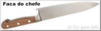 Foto de uma Faca do Chefe ou faca de Cozinha que em inglês é chamada de Chef's Knife
