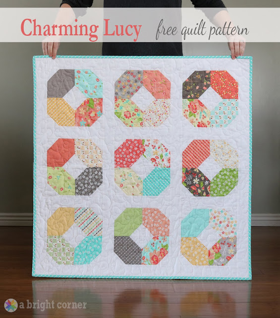 Charming Lucy - a free charm pack baby quilt pattern from Andy of A Bright Corner