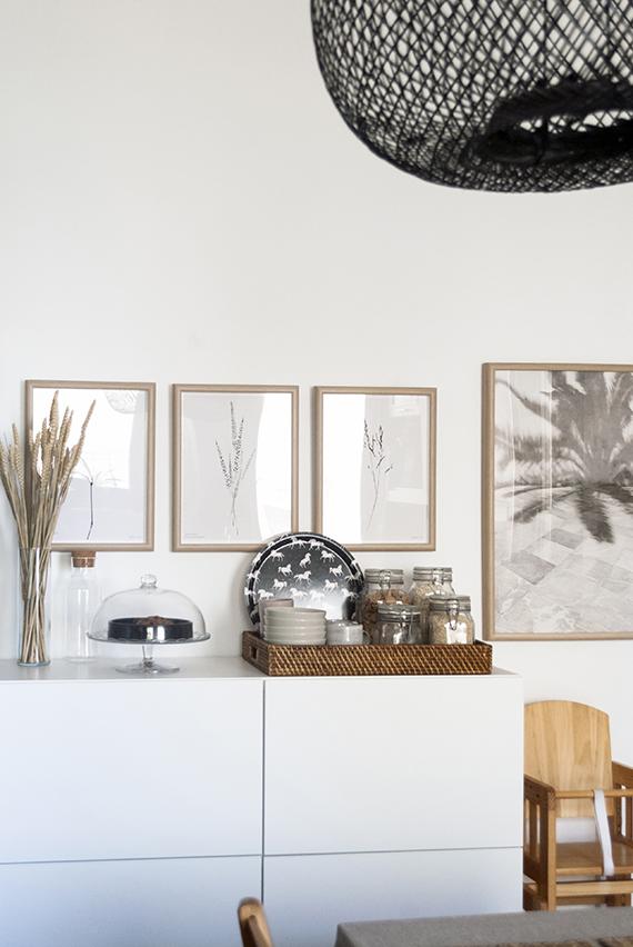 Botanical prints and patterned birch tray by Micush in the kitchen © Eleni Psyllaki My Paradissi
